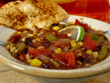 Red, Gold, Black, and Green Chili with Baked Tortilla Chips