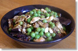 Curried Eggplant Salad with Peas