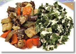 Grilled Balsamic Vegetables and Kale with Cashew Cream Sauce